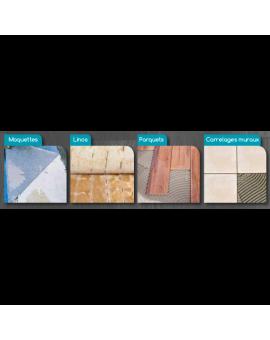 Le produit s'applique sur différents sols et murs.
