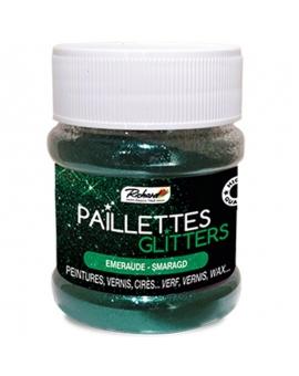 Pot de 80g de Paillettes Glitters Émeraude