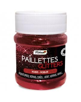 Pot de 80g de Paillettes Glitters Rubis