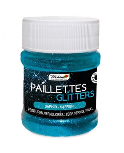 Pot de 80g de Paillettes Glitters Saphir