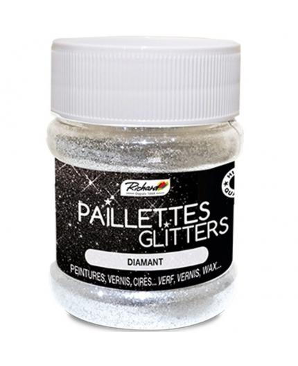 Pot de 80g de Paillettes Glitters Diamant