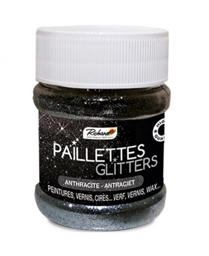 Pot de 80g de Paillettes Glitters Anthracite