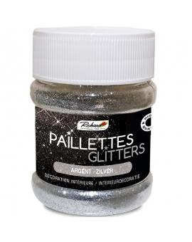 Pot de 80g de Paillettes Glitters Argent