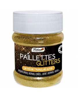 Pot de 80g de Paillettes Glitters Or Riche